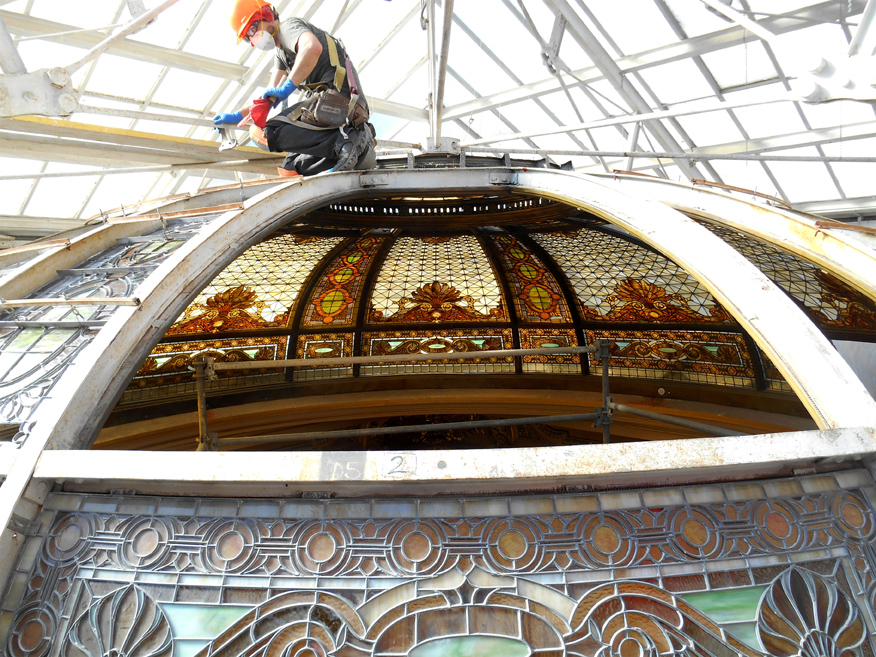 Onsite Glazier Restoring Stained Glass Dome
