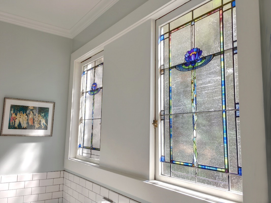 Stained glass commission, new decorative bathroom window arts and craft style stained glass, craftsman glass Oakland, CA