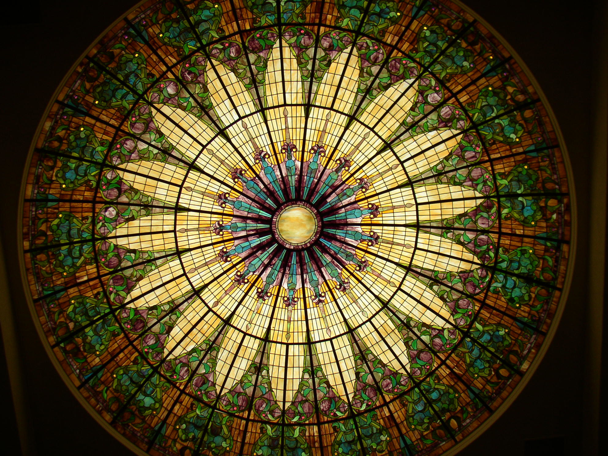 Custom stained glass dome opalescent glass, church glass commission, handmade