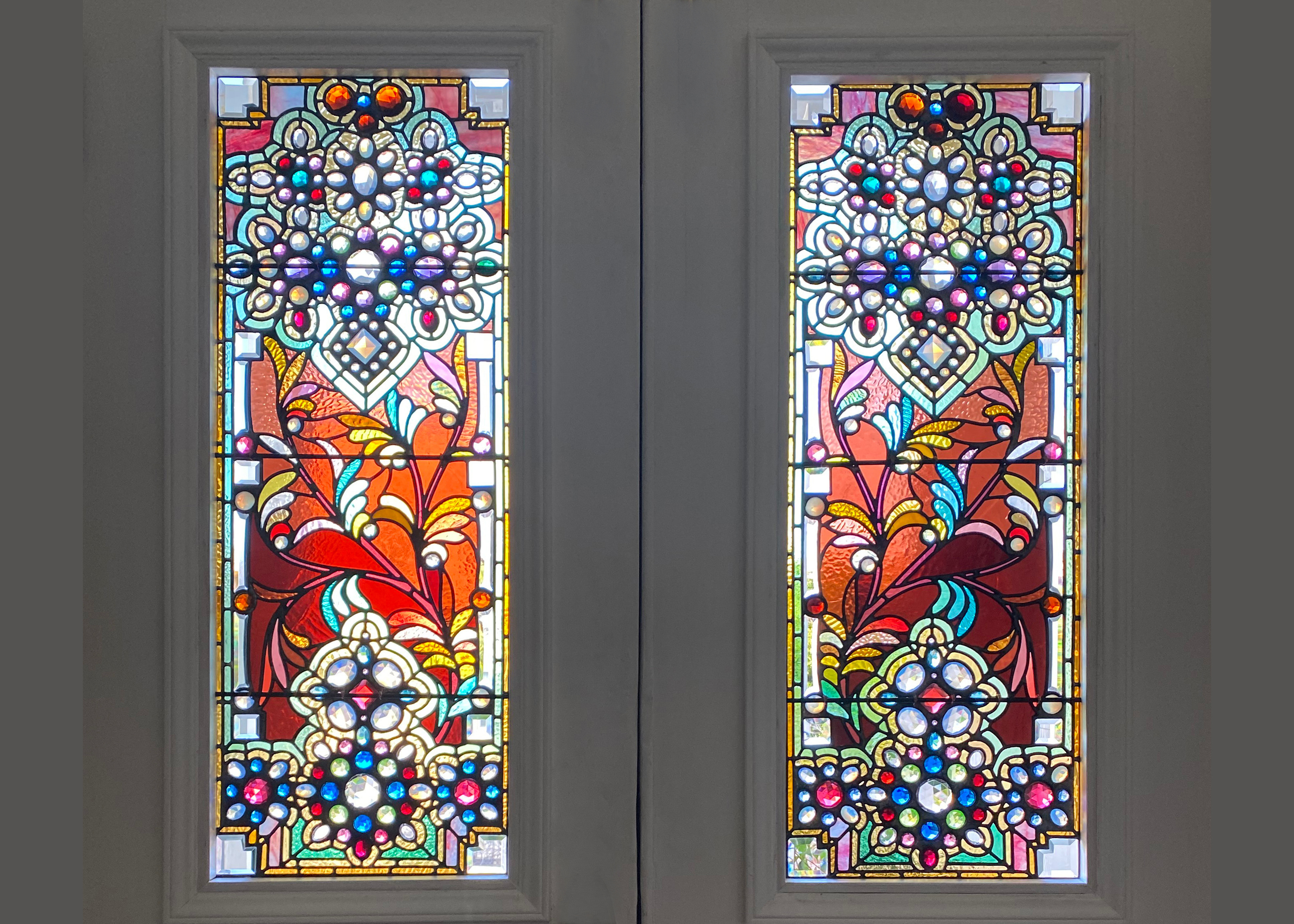 Restoration and repair of stained glass entry doors San Francisco, CA