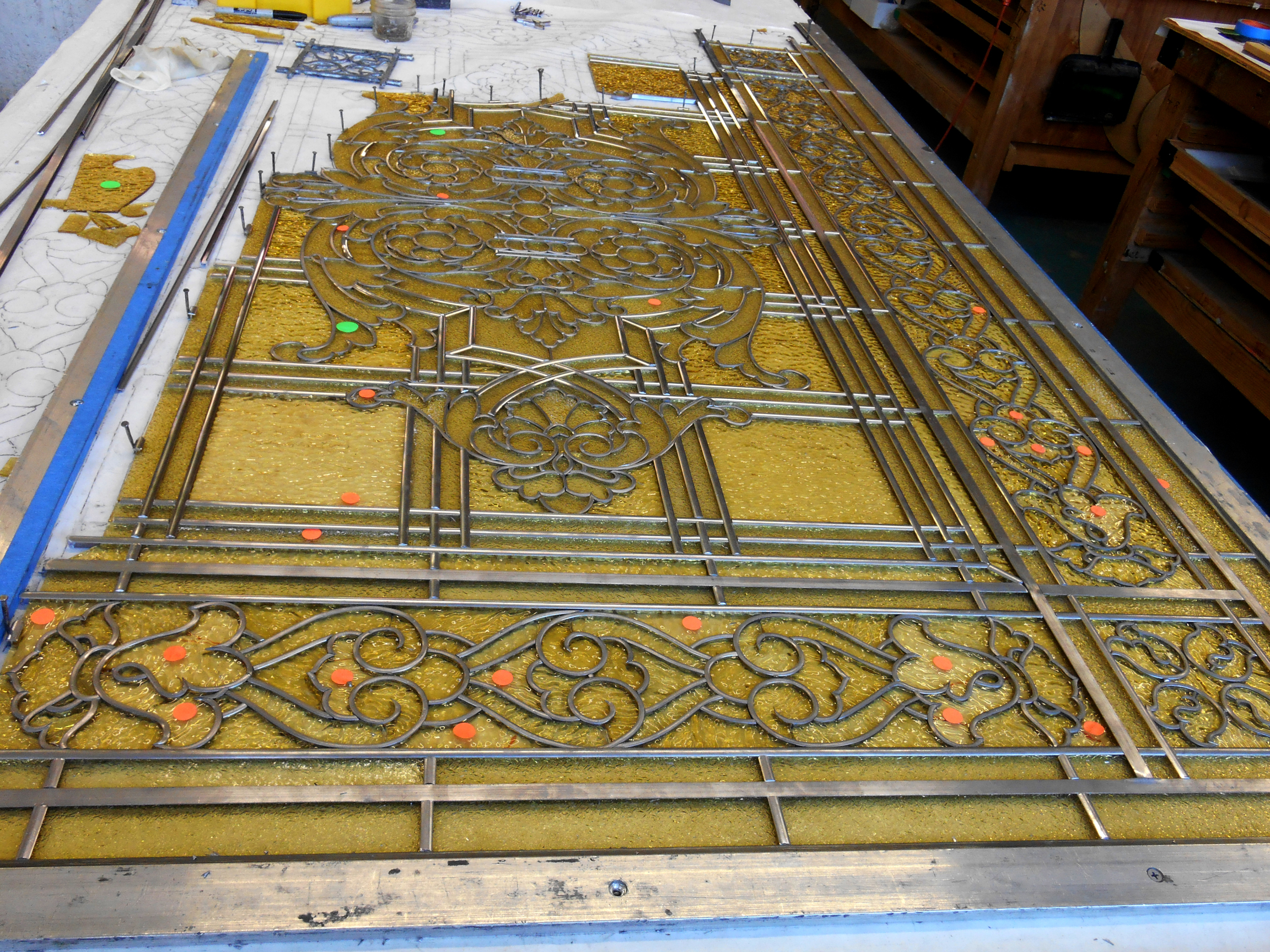 Leading stained glass, leaded glass