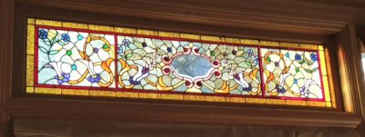 Antique Transom Window with Custom Side Panels